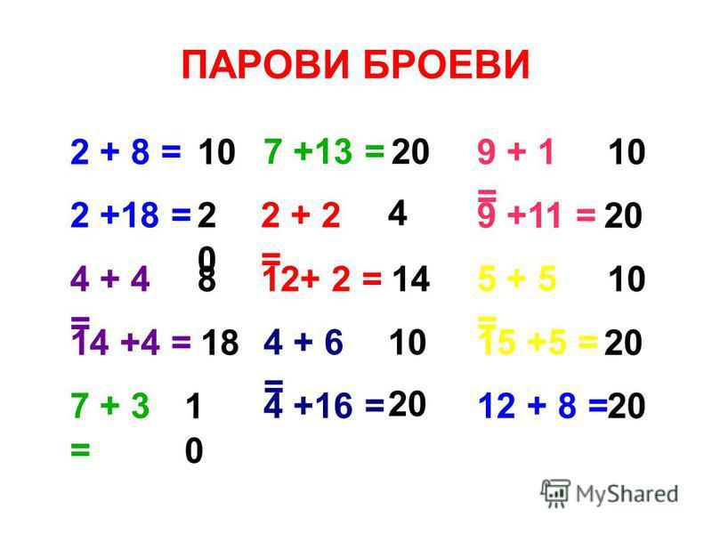 2 + 8 = 4 + 6 = 2 + 2 = 7 +13 = 7 + 3 = 14 +4 = 4 + 4 = 2 +18 = 12+ 2 = 4 +16 =12 + 8 = 15 +5 = 5 + 5 = 9 +11 = 9 + 1 = 10 1010 20 2020 14 4 18 8