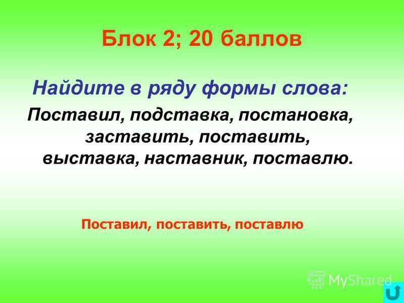 Блок 2; 10 баллов Определите состав следующих слов: Выносливость, зелень, загорала, наладчик, пришкольный. Вы-нос-лив-ость, зелень, за-гор-а-л-а, на-лад-чик, при-школь-н-ый