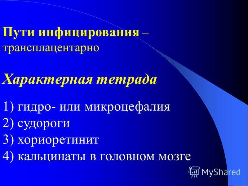 Пути инфицирования – трансплацентарное Характерная тетрада 1) гидро- или микроцефалия 2) судороги 3) хориоретинит 4) кальцинаты в головном мозге