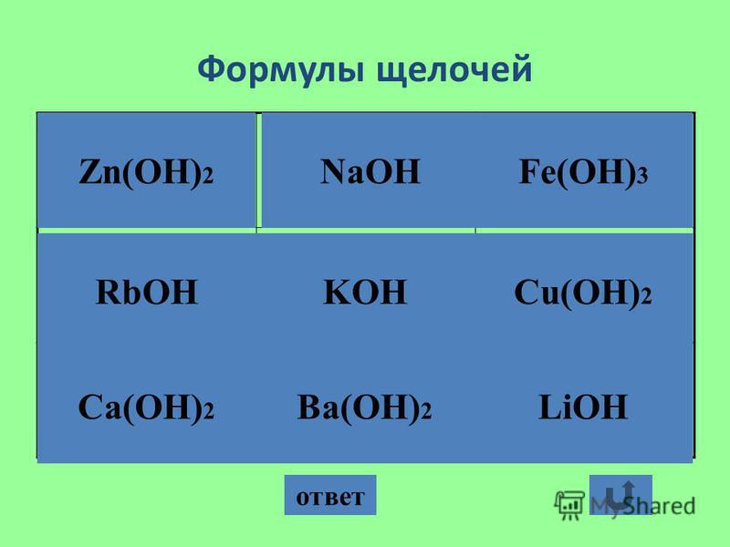 Формулы щелочей ответ Zn(OH) 2 NaOH Ca(OH) 2 Ba(OH) 2 LiOH Cu(OH) 2 KOHRbOH Fe(OH) 3