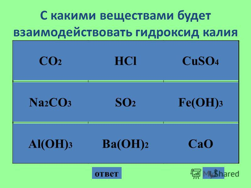 С какими веществами будет взаимодействовать гидроксид калия ответ CO 2 Na 2 CO 3 Al(OH) 3 HCl SO 2 CuSO 4 Fe(OH) 3 Ba(OH) 2 CaO