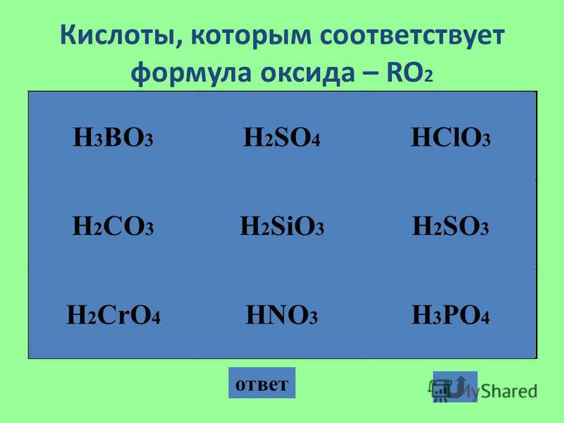 Кислоты, которым соответствует формула оксида – RO 2 ответ H 3 BO 3 HNO 3 H 2 CrO 4 H 2 CO 3 H 2 SiO 3 H 2 SO 4 H 3 PO 4 H 2 SO 3 HClO 3