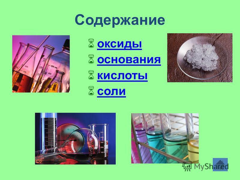 Содержание оксиды основания кислоты соли