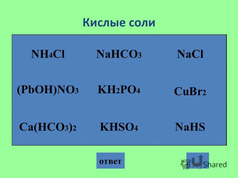 Кислые соли ответ Ca(HCO 3 ) 2 KHSO 4 NaHCO 3 KH 2 PO 4 NaHS NH 4 ClNaCl (PbOH)NO 3 CuBr 2