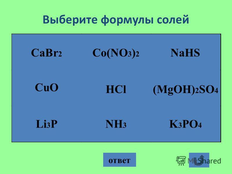 Выберите формулы солей ответ CaBr 2 NH 3 HCl Co(NO 3 ) 2 K 3 PO 4 (MgOH) 2 SO 4 NaHS CuO Li 3 P