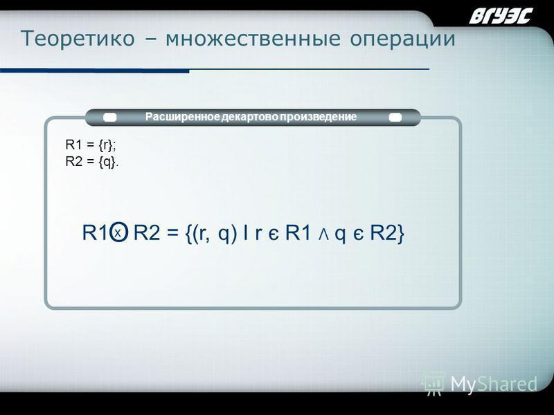 Company Logo Теоретико – множественные операции Расширенное декартово произведение R1 = {r}; R2 = {q}. R1 R2 = {(r, q) I r є R1 Λ q є R2} O x