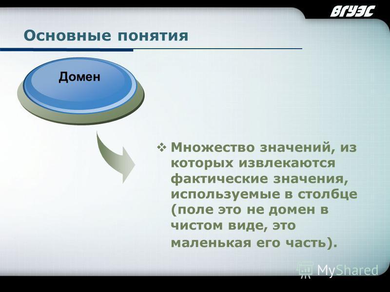 Company Logo Основные понятия Множество значений, из которых извлекаются фактические значения, используемые в столбце (поле это не домен в чистом виде, это маленькая его часть). Домен