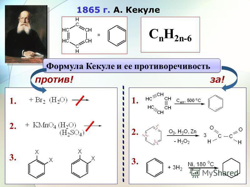 1865 г. 1865 г. А. Кекуле Формула Кекуле и ее противоречивость C n H 2n-6 1. 2. 3. 9 1. 2. 3. против!за!