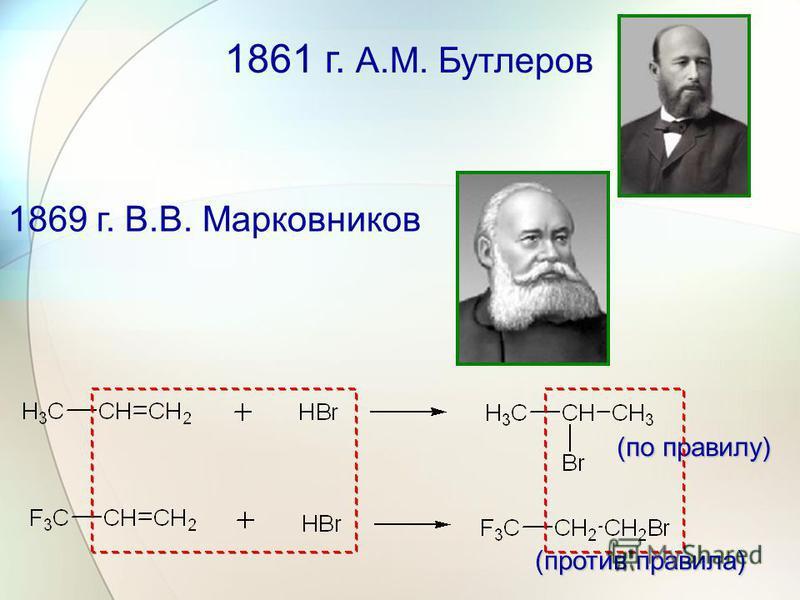 1861 г. А.М. Бутлеров 1869 г. В.В. Марковников (по правилу) (против правила)