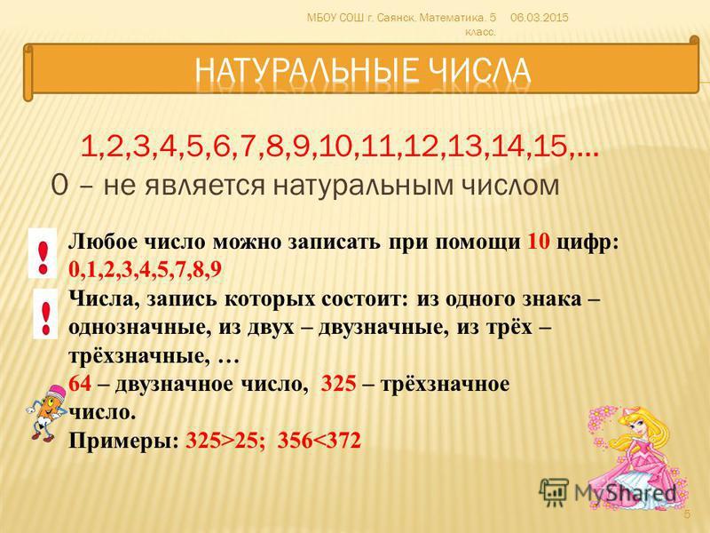 1,2,3,4,5,6,7,8,9,10,11,12,13,14,15,… 0 – не является натуральным числом 06.03.2015МБОУ СОШ г. Саянск. Математика. 5 класс. 5 Любое число можно записать при помощи 10 цифр: 0,1,2,3,4,5,7,8,9 Числа, запись которых состоит: из одного знака – однозначны