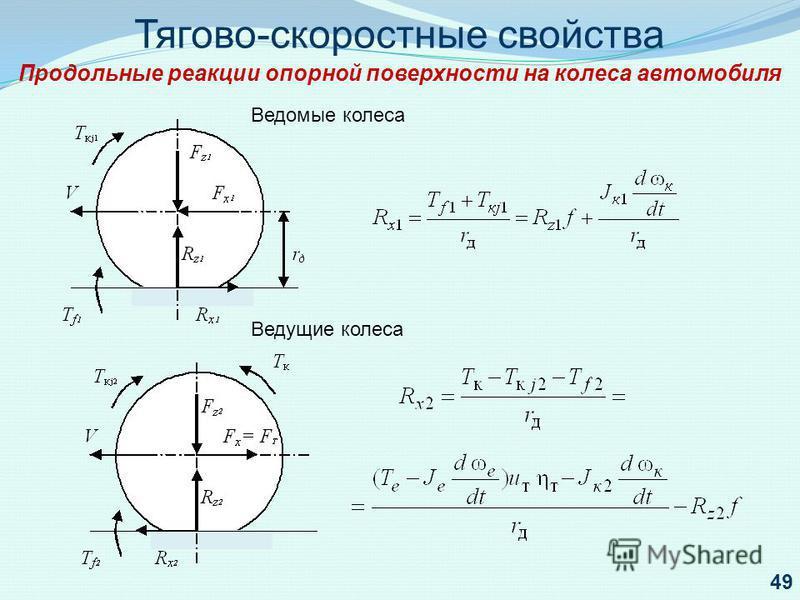 Тягово-скоростные свойства Продольные реакции опорной поверхности на колеса автомобиля Ведомые колеса Ведущие колеса 49