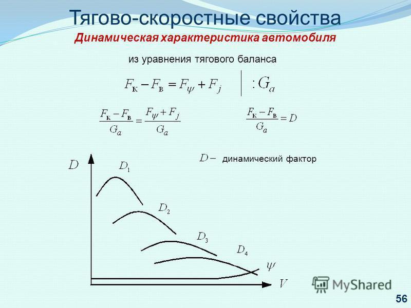Тягово-скоростные свойства Динамическая характеристика автомобиля из уравнения тягового баланса динамический фактор 56