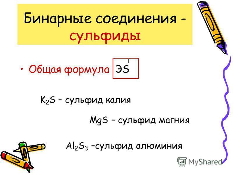 Бинарные соединения - оксиды Общая формула ЭО II K 2 О – оксид калия MgО – оксид магния Al 2 О 3 –оксид алюминия