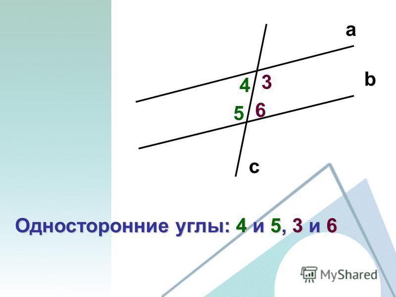 a b c 3 4 5 6 Односторонние углы: 4 и 5, 3 и 6
