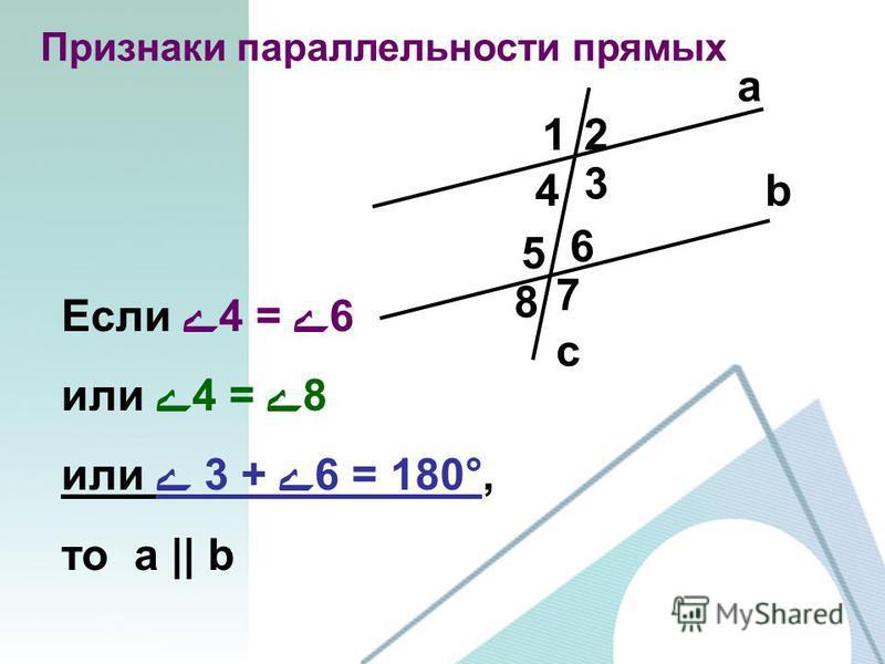 a b c 12 3 4 5 6 7 8 Признаки параллельности прямых Если ے4 = ے6 или ے4 = ے8 или ے 3 + ے6 = 180°, то a || b