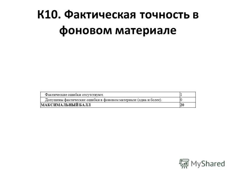 К10. Фактическая точность в фоновом материале Фактические ошибки отсутствуют.1 Допущены фактические ошибки в фоновом материале (одна и более).0 МАКСИМАЛЬНЫЙ БАЛЛ20