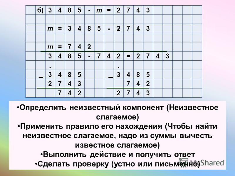 б)3485-m=2743 m=3485-2743 m=742 3485-742=2743.. 34853485 2743742 7422743 Определить неизвестный компонент (Неизвестное слагаемое) Применить правило его нахождения (Чтобы найти неизвестное слагаемое, надо из суммы вычесть известное слагаемое) Выполнит
