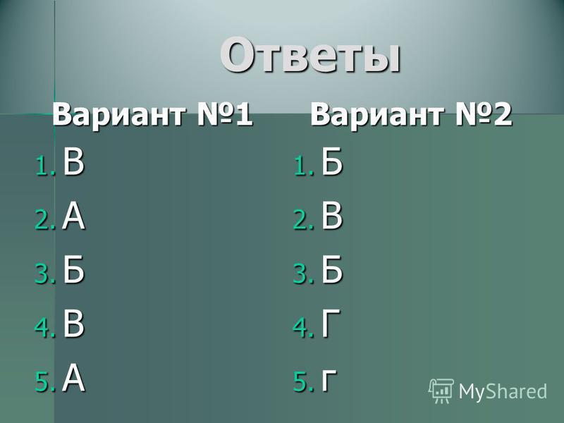 Ответы Вариант 1 1. В 2. А 3. Б 4. В 5. А Вариант 2 1. Б 2. В 3. Б 4. Г 5. г