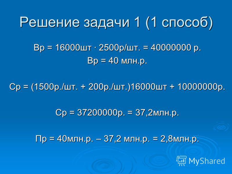 Решение задачи 1 (1 способ) Вр = 16000 шт 2500 р/шт. = 40000000 р. Вр = 40 млн.р. Ср = (1500 р./шт. + 200 р./шт.)16000 шт + 10000000 р. Ср = 37200000 р. = 37,2 млн.р. Пр = 40 млн.р. – 37,2 млн.р. = 2,8 млн.р.