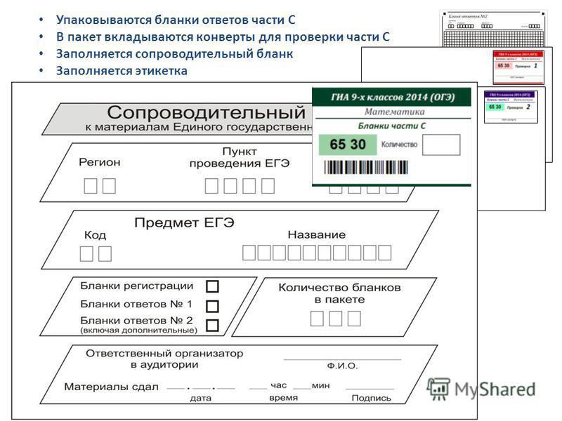 Упаковываются бланки ответов части С В пакет вкладываются конверты для проверки части С Заполняется сопроводительный бланк Заполняется этикетка