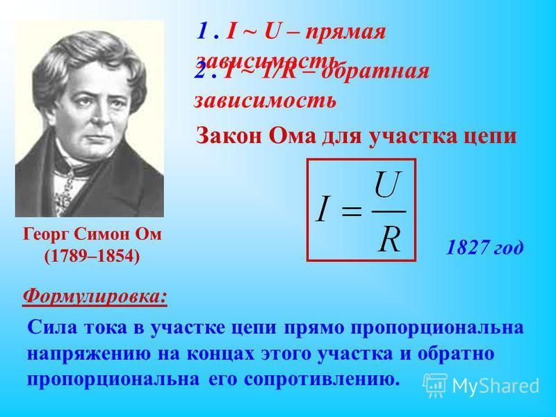 1. I ~ U – прямая зависимость 2. I ~ 1/R – обратная зависимость Георг Симон Ом (1789–1854) Закон Ома для участка цепи 1827 год Формулировка: Сила тока в участке цепи прямо пропорциональна напряжению на концах этого участка и обратно пропорциональна е