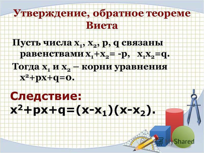 Утверждение, обратное теореме Виета Пусть числа х 1, х 2, p, q связаны равенствами х 1 +х 2 = -p, х 1 х 2 =q. Тогда х 1 и х 2 – корни уравнения х 2 +ps+q=0. Следствие: х 2 +ps+q=(х-х 1 )(х-х 2 ).