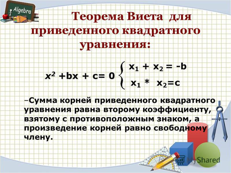Теорема Виета для приведенного квадратного уравнения: –Сумма корней приведенного квадратного уравнения равна второму коэффициенту, взятому с противоположным знаком, а произведение корней равно свободному члену. x 1 + x 2 = -b x 1 * x 2 =c x 2 +bx + c