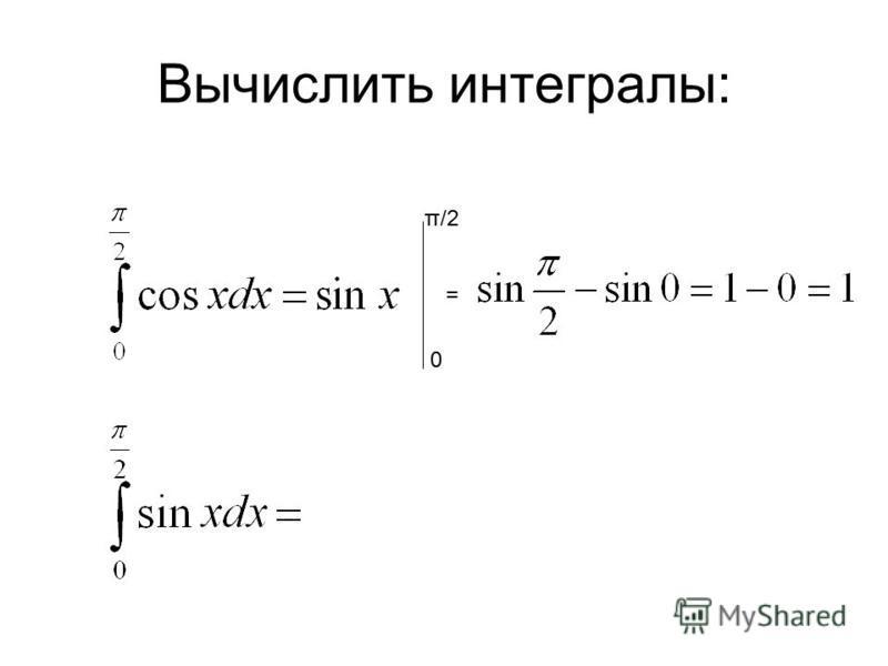Вычислить интегралы: 0 π/2 =