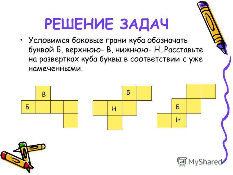 РЕШЕНИЕ ЗАДАЧ Условимся боковые грани куба обозначать буквой Б, верхнюю- В, нижнюю- Н. Расставьте на развертках куба буквы в соответствии с уже намеченными. ББ Б Н Н В