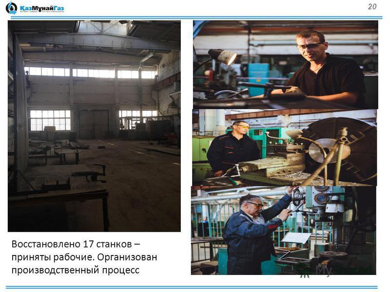 20 Восстановлено 17 станков – приняты рабочие. Организован производственный процесс