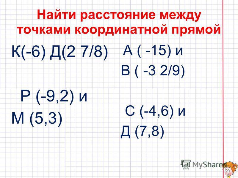 Найти координаты точек удаленных от Д (-0,6) на 2,7 ; С (0,2) на 4,6; М ( -1,2) на 0,8 Най