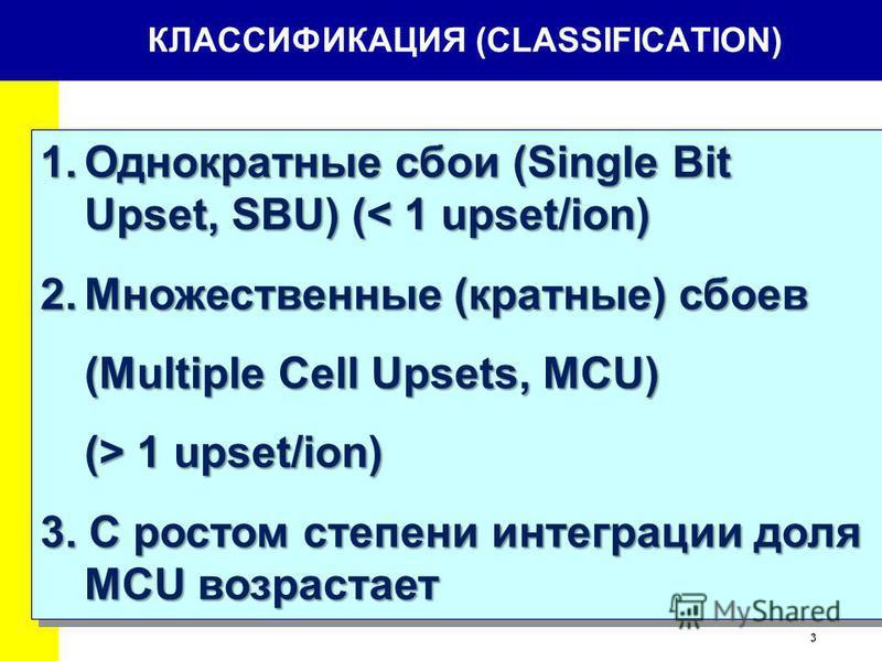 3 КЛАССИФИКАЦИЯ (CLASSIFICATION) 1. Однократные сбои (Single Bit Upset, SBU) (< 1 upset/ion) 2. Множественные (кратные) сбоев (Multiple Cell Upsets, MCU) (> 1 upset/ion) 3. С ростом степени интеграции доля MCU возрастает 1. Однократные сбои (Single B