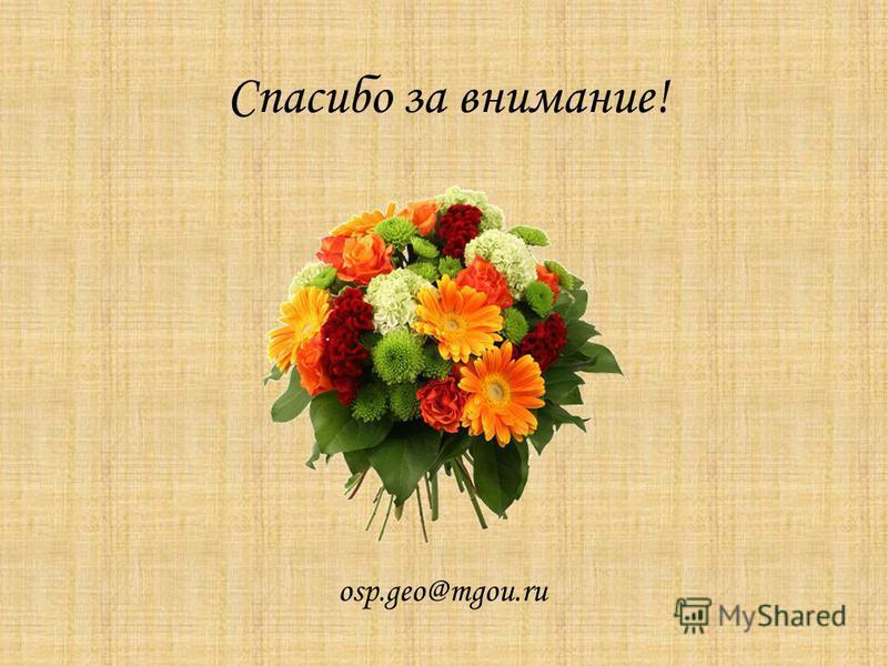 Спасибо за внимание! osp.geo@mgou.ru