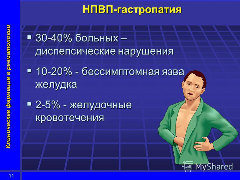 11 Клиническая фармация в ревматологии НПВП-гастропатия 30-40% больных – диспепсические нарушения 30-40% больных – диспепсические нарушения 10-20% - бессимптомная язва желудка 10-20% - бессимптомная язва желудка 2-5% - желудочные кровотечения 2-5% -