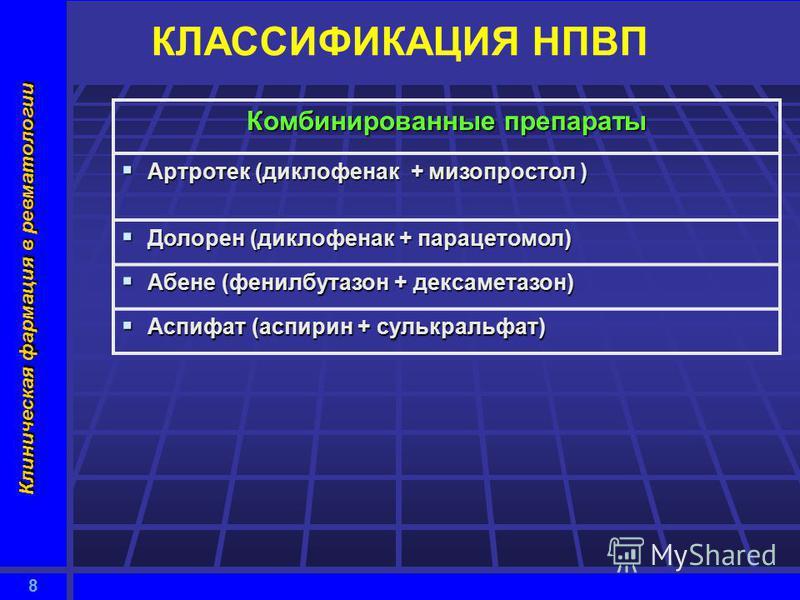 8 Клиническая фармация в ревматологии КЛАССИФИКАЦИЯ НПВП Комбинированные препараты Артротек (диклофенак + мизопростол ) Артротек (диклофенак + мизопростол ) Долорен (диклофенак + парацетамол) Долорен (диклофенак + парацетамол) Абене (фенилбутазон + д