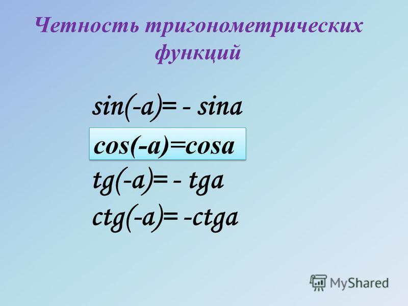 Четность тригонометрических функций sin(-a)= - sina tg(-a)= - tga ctg(-a)= -ctga cos(-a)=cosa