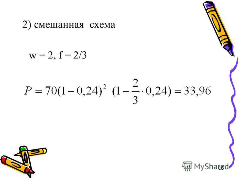 18 2) смешанная схема w = 2, f = 2/3