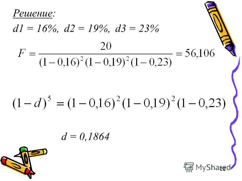 22 Решение: d1 = 16%, d2 = 19%, d3 = 23% d = 0,1864