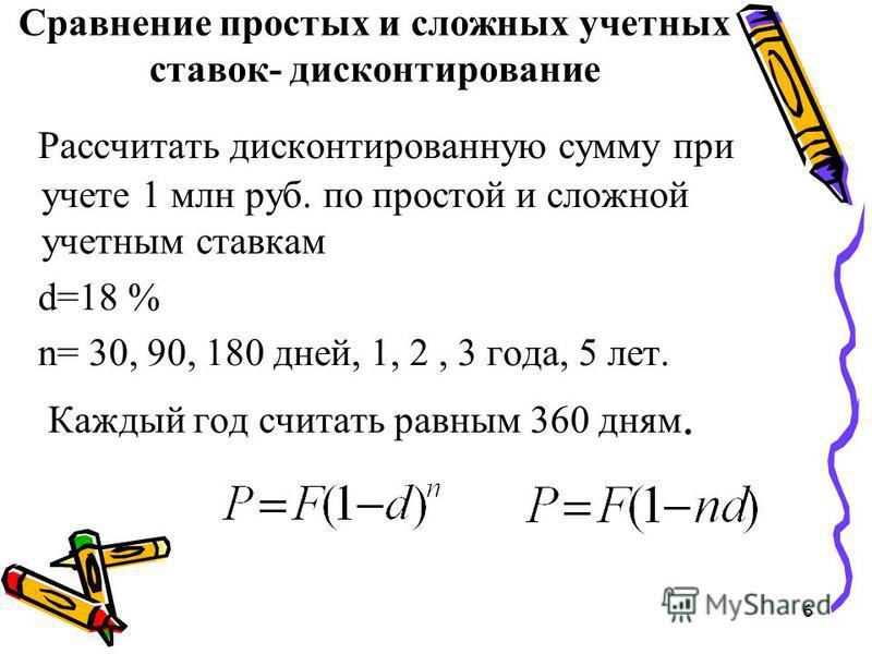 6 Сравнение простых и сложных учетных ставок- дисконтирование Рассчитать дисконтированную сумму при учете 1 млн руб. по простой и сложной учетным ставкам d=18 % n= 30, 90, 180 дней, 1, 2, 3 года, 5 лет. Каждый год считать равным 360 дням.
