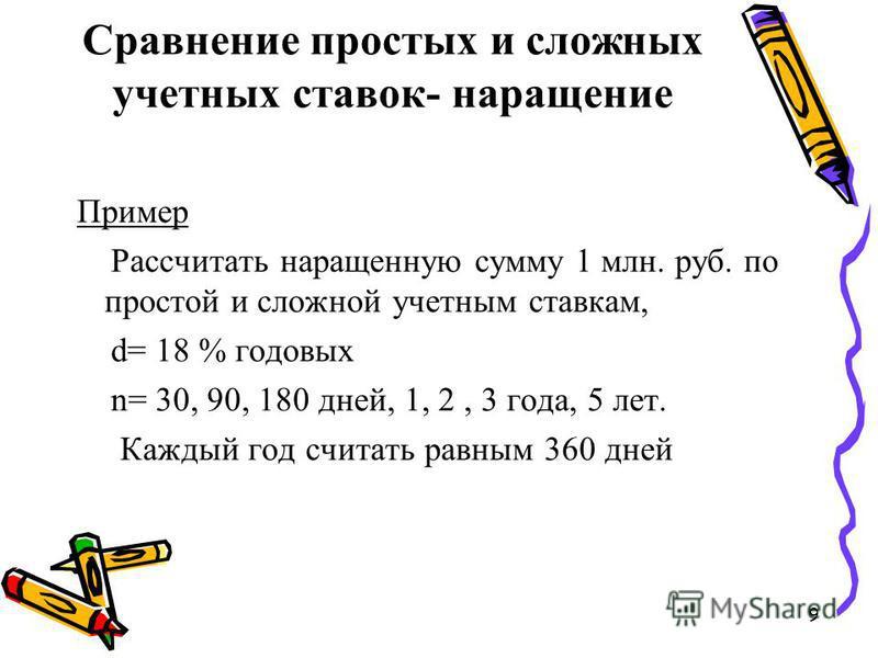 9 Сравнение простых и сложных учетных ставок- наращение Пример Рассчитать наращенную сумму 1 млн. руб. по простой и сложной учетным ставкам, d= 18 % годовых n= 30, 90, 180 дней, 1, 2, 3 года, 5 лет. Каждый год считать равным 360 дней