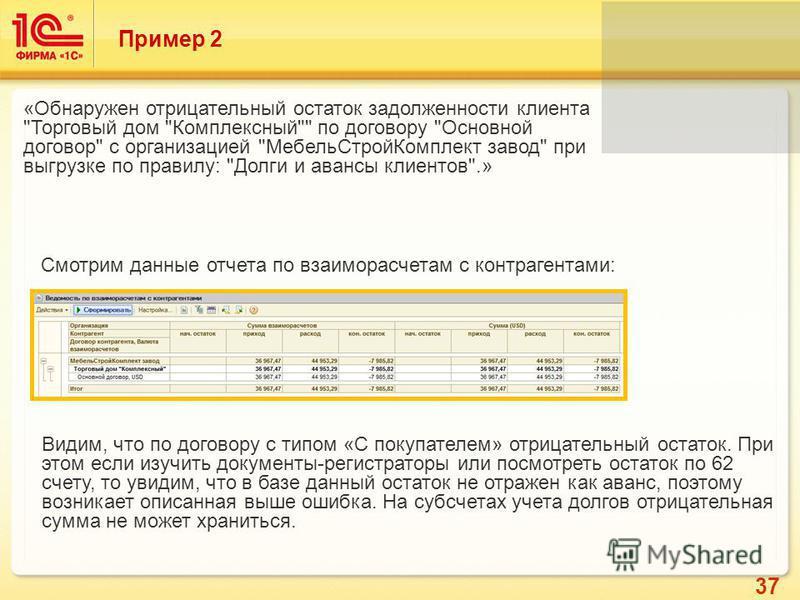 37 Пример 2 «Обнаружен отрицательный остаток задолженности клиента