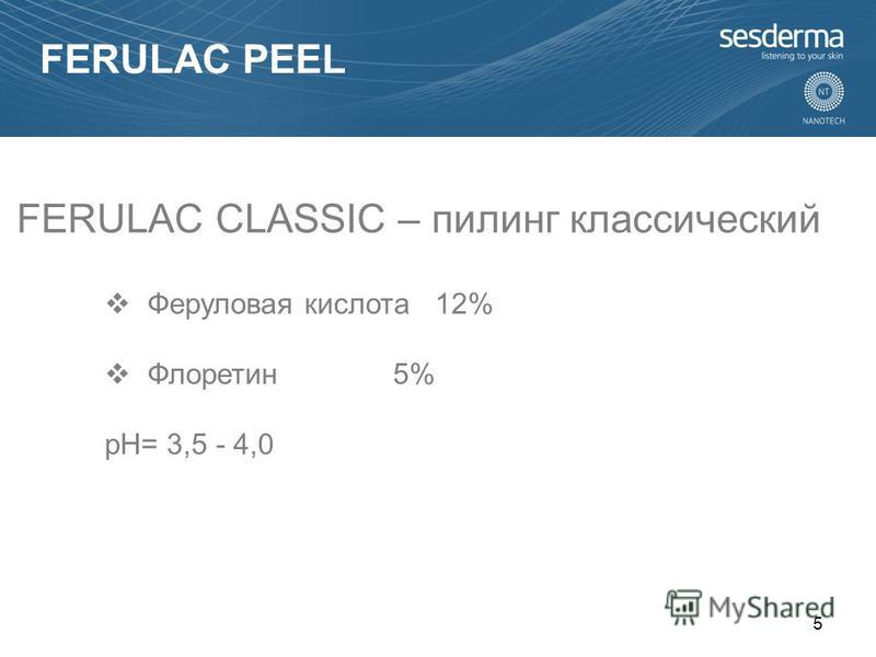 Феруловая кислота 12% Флоретин 5% pH= 3,5 - 4,0 FERULAC CLASSIC – пилинг классический 5 FERULAC PEEL