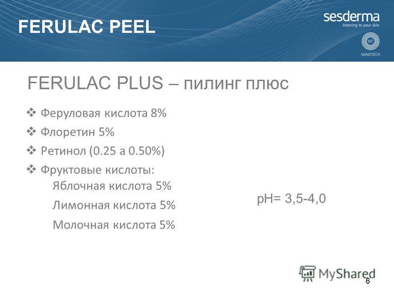 Феруловая кислота 8% Флоретин 5% Ретинол (0.25 a 0.50%) Фруктовые кислоты: Яблочная кислота 5% Лимонная кислота 5% Молочная кислота 5% pH= 3,5-4,0 FERULAC PLUS – пилинг плюс 6 FERULAC PEEL