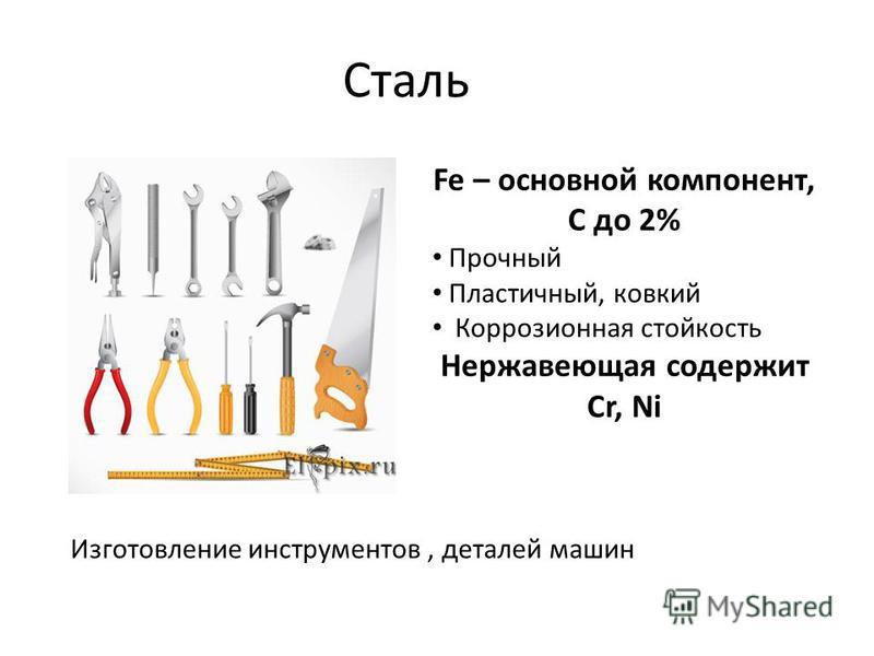 Сталь Fe – основной компонент, С до 2% Прочный Пластичный, ковкий Коррозионная стойкость Нержавеющая содержит Cr, Ni Изготовление инструментов, деталей машин