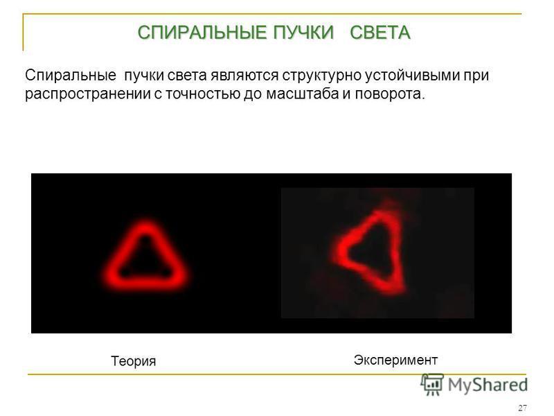 27 СПИРАЛЬНЫЕ ПУЧКИ СВЕТА СПИРАЛЬНЫЕ ПУЧКИ СВЕТА Спиральные пучки света являются структурно устойчивыми при распространении с точностью до масштаба и поворота. Теория Эксперимент