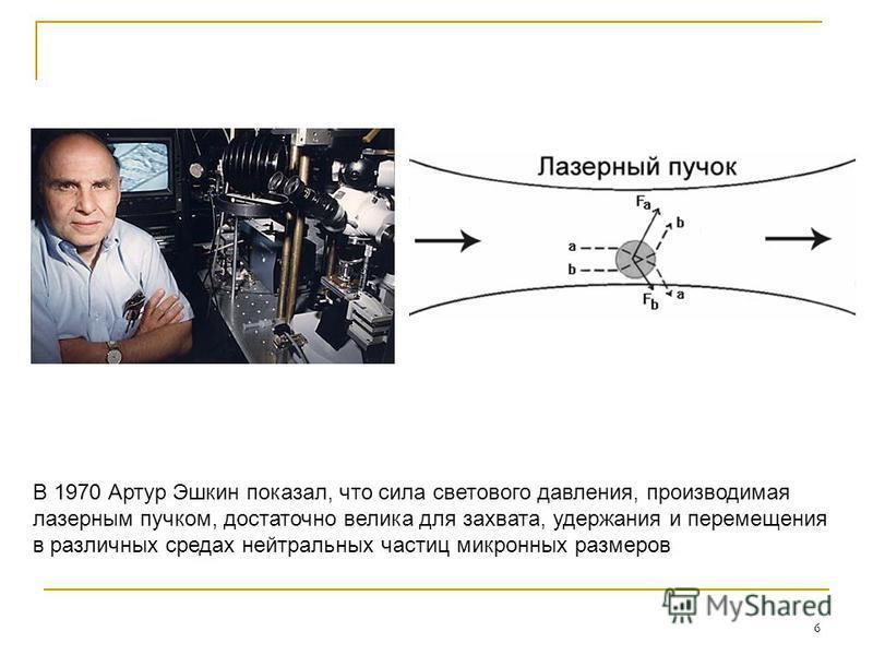 6 В 1970 Артур Эшкин показал, что сила светового давления, производимая лазерным пучком, достаточно велика для захвата, удержания и перемещения в различных средах нейтральных частиц микронных размеров