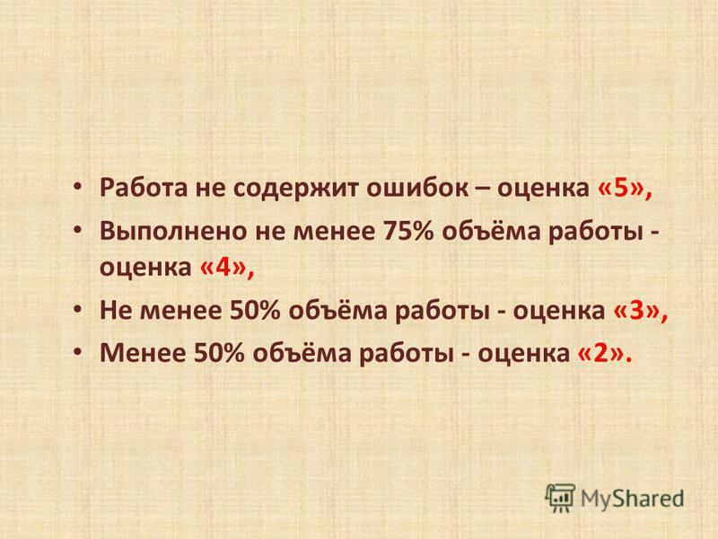 Работа не содержит ошибок – оценка «5», Выполнено не менее 75% объёма работы - оценка «4», Не менее 50% объёма работы - оценка «3», Менее 50% объёма работы - оценка «2».