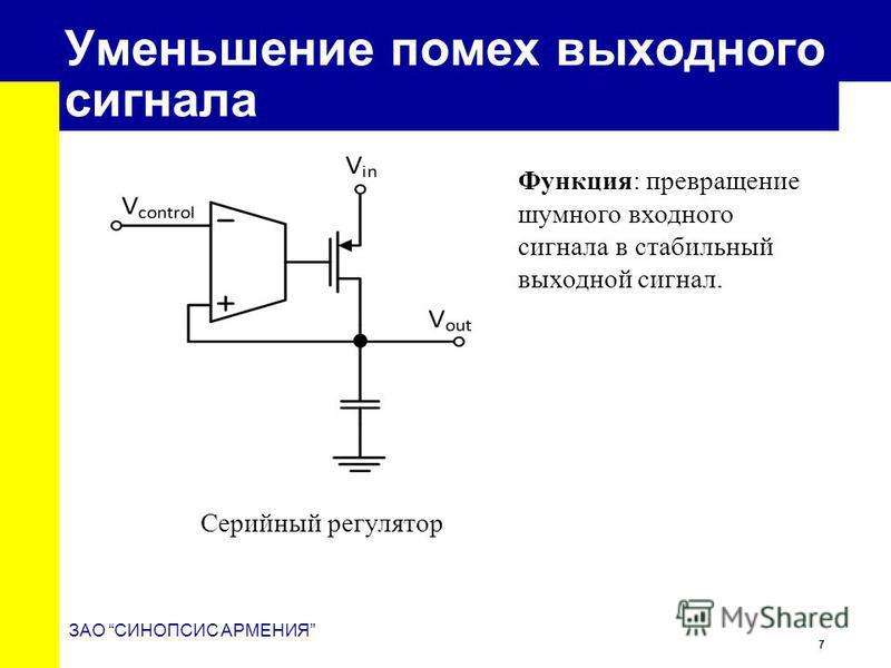 7 ЗАО СИНОПСИС АРМЕНИЯ Уменьшение помех выходного сигнала Серийный регулятор Функция: превращение шумного входного сигнала в стабильный выходной сигнал.