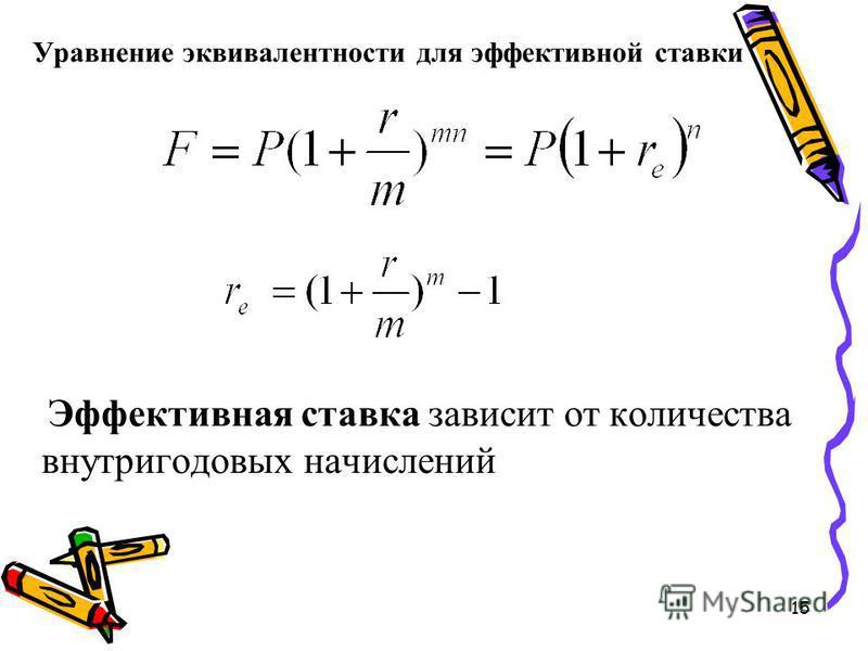 15 Уравнение эквивалентности для эффективной ставки Эффективная ставка зависит от количества внутригодовых начислений