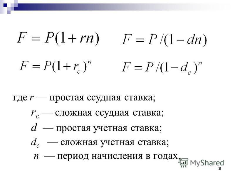 3 где r простая ссудная ставка; r c сложная ссудная ставка; d простая учетная ставка; d c сложная учетная ставка; n период начисления в годах.